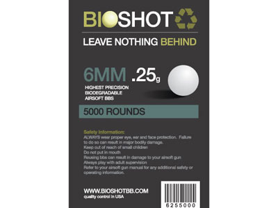 BioShot .25 High Precision Biodegradable BBs (5000rds White)