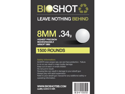 BioShot 8MM .34 High Precision Biodegradable BBs (1500rds White)