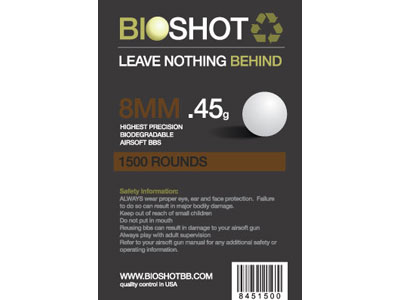 BioShot 8MM .45 High Precision Biodegradable BBs (1500rds White)